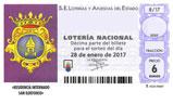 Décimo del sorteo de Lotería Nacional del 28 de Enero de 2017