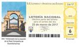 Décimo del sorteo de Lotería Nacional del 25 de Marzo de 2017