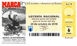 Décimo del sorteo de Lotería Nacional del 20 de Octubre de 2018