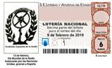 Décimo del sorteo de Lotería Nacional del 9 de Febrero de 2019