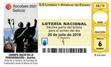 Décimo del sorteo de Lotería Nacional del 20 de Julio de 2019