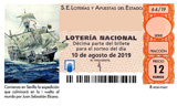 Décimo del sorteo de Lotería Nacional del 10 de Agosto de 2019