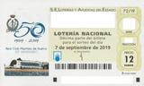 Décimo del sorteo de Lotería Nacional del 7 de Septiembre de 2019
