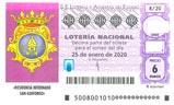 Décimo del sorteo de Lotería Nacional del 25 de Enero de 2020
