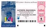 Décimo del sorteo de Lotería Nacional del 19 de Septiembre de 2020