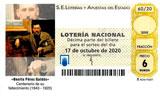 Décimo del sorteo de Lotería Nacional del 17 de Octubre de 2020