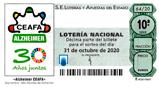 Décimo del sorteo de Lotería Nacional del 31 de Octubre de 2020