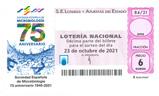 Décimo del sorteo de Lotería Nacional del 23 de Octubre de 2021