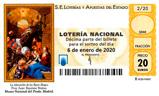 Décimo del sorteo de Lotería Nacional del 6 de Enero de 2020